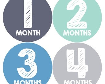 Baby Month Stickers, Baby Boy Gift, Milestone Stickers, Monthly Sticker, Monthly Baby Boy Stickers, Baby Month Milestone Stickers 015