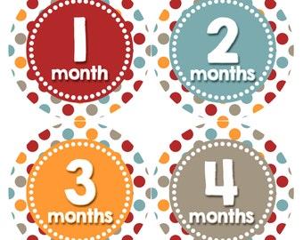 Baby Month Stickers, Baby Boy Gift, Milestone Stickers, Monthly Sticker, Monthly Baby Boy Stickers, Baby Bodysuit, Baby Shower Gift 336