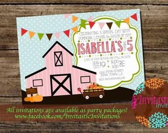Farm Pumpkin Patch Birthday Invitation-Pumpkin Patch, Fall, Autumn Halloween theme printable birthday party invite-Girl Pumpkin Patch Invite