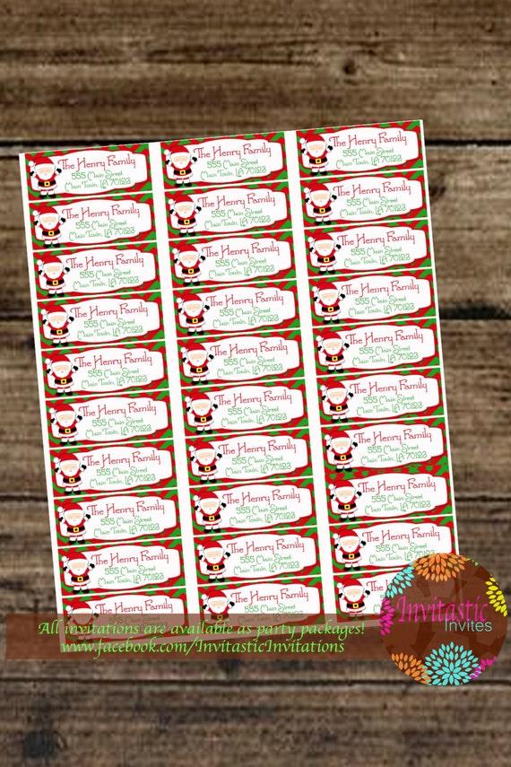 custom christmas santa printable mailing labels for printing
