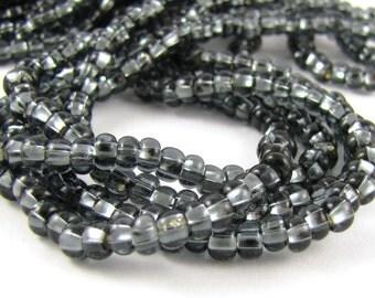 Silver Lined Dark Gray Size 6/0 Czech Glass Seed Beads #1725