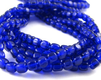 Cobalt Blue 4mm Cube Czech Glass Beads 50pc #905