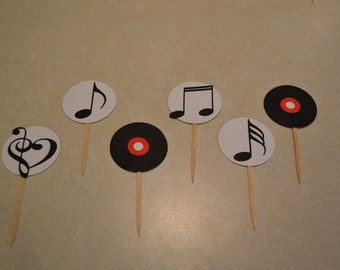 Music Cupcake Picks Toppers / Record Cupcake Picks Toppers - Music Birthday Party