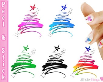 Christmas Tree Swirl Variety Nail Art Decal Sticker Set