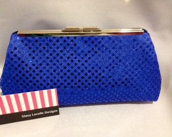 Royal Blue Sequin Clutch Purse with Nickel/Silver Finish Snap Close Frame