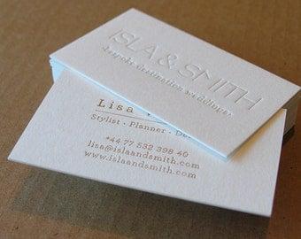 Letterpress Business Cards -100 (1 Letterpress + Gold Foil), Crane's Lettra 600gsm (220lb)