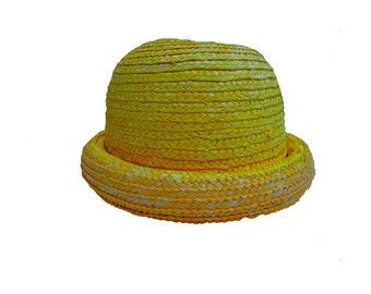 FRENCH straw round 80's hat for kid
