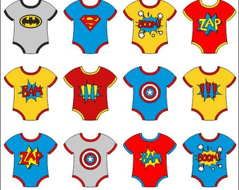 Baby Superhero Onesies Clip Art, Superhero Boom Zap Bam Digital Clipart - Instant Download - YDC095
