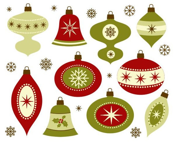Retro Christmas Decoration Clip Art New Year Digital
