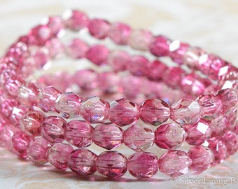 Raspberry Ice (30) - Czech Glass Bead - 6mm - Faceted Round