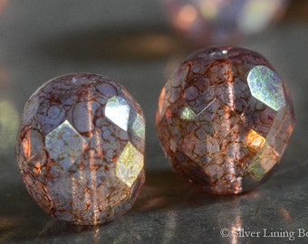 Ethereal Ones (6) - Czech Glass Bead - 12mm - Faceted Round