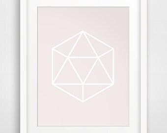 Pink Wall Decor, Pink Geometric, Pink Prints, Pink Artwork, Gem Wall Art, Pink Decor, Pink Minimalist, Pink Print Art