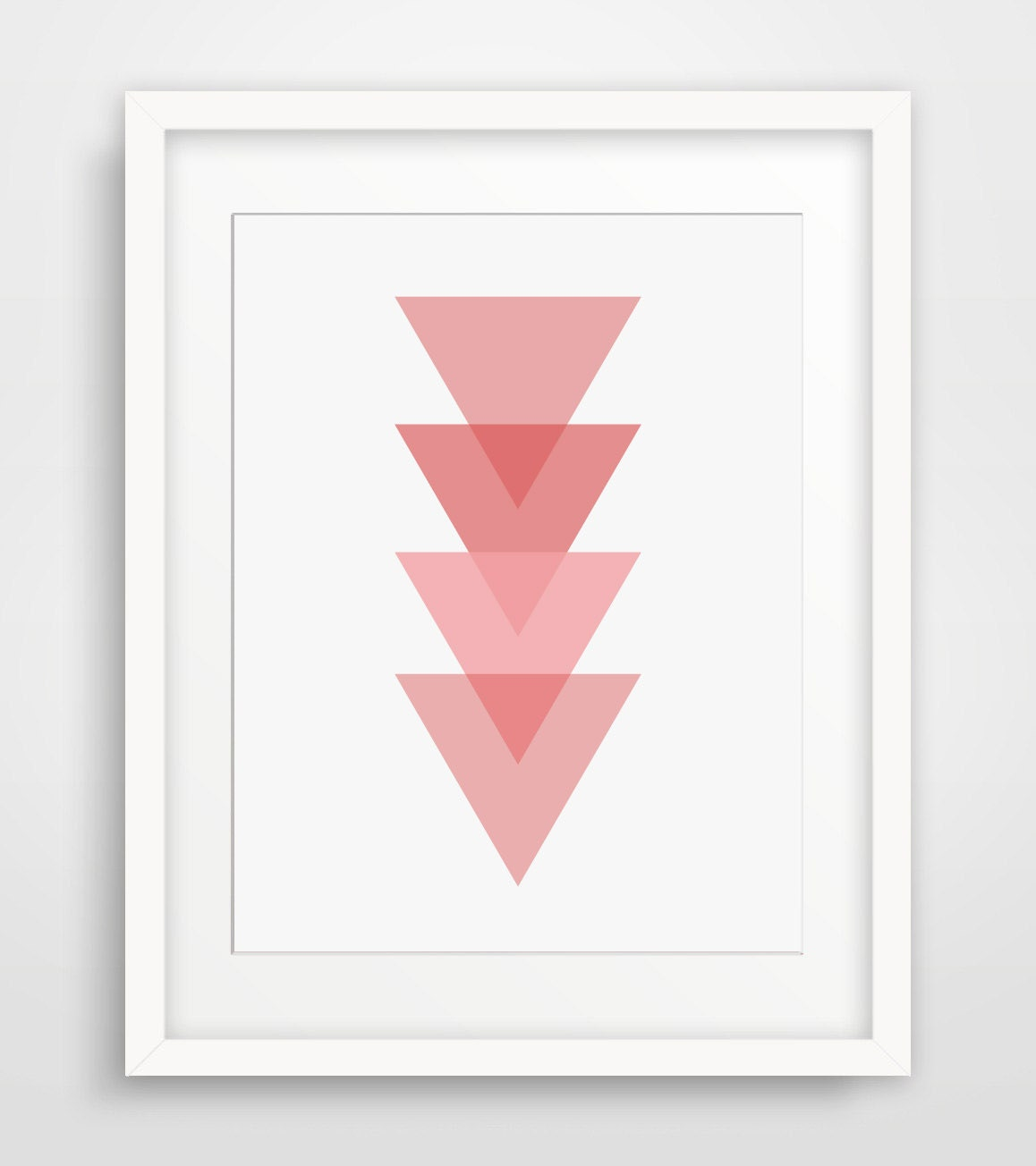 Pink geometric pink wall art geometric home decor pink for Pink wall art