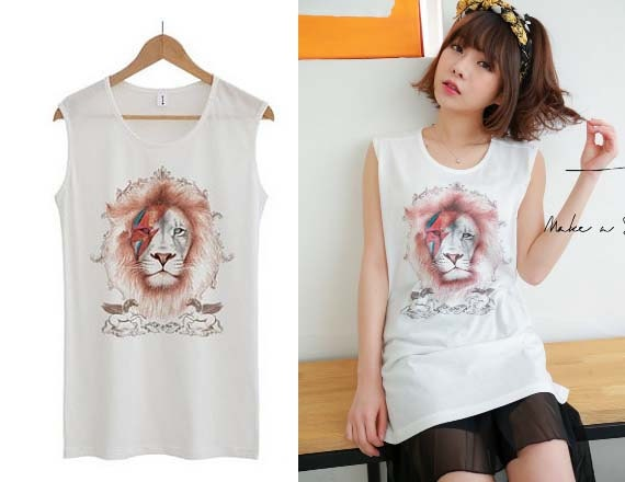 Lion t shirt cool graphic tees sleeveless tops for women white for Sleeveless graphic t shirts