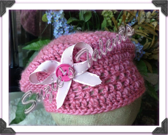 Crochet Baby Hat With Ribbon Pattern : PATTERN PT045 Crochet Girls Hat with Ribbon Baby postman