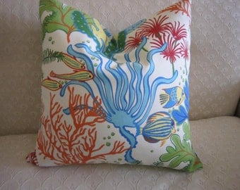 """Underwater design 18"""" square pillow cover in bright blues, greens, oranges, with an invisible zipper on the bottom"""