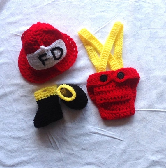 Crochet Patterns For Baby Frocks : Baby Firefighter Outfit. Crochet Fireman Outfit by ...