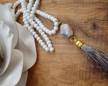 Tassel necklace. Long beaded tassel necklace. Long grey tassel necklace with agate gemstone.Grey tassel necklace. White tassel necklace.