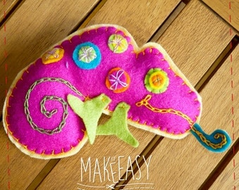 Chameleon - Felt pattern and Tutorial - DIY - Making pattern PDF - Plushie animal Instructions