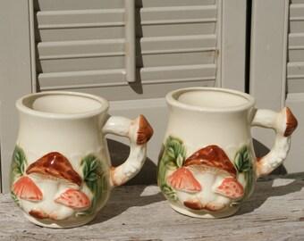 Groovy Mushroom Coffee Mugs, Set of Two