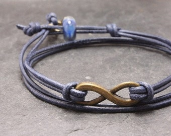 Little Stars Eternity blue leather bracelet