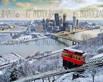 Duquesne Incline in the Winter (Pittsburgh, snow, city, clouds, bridges, sunrise)