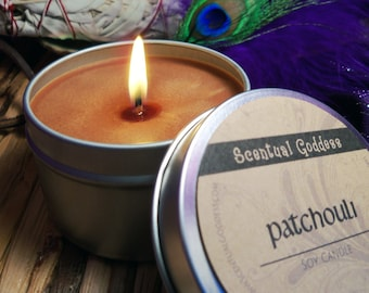 PATCHOULI CANDLE - 70's Hippie Retro Boho Earthy Scented Soy - Create a Zen Space for Meditation or Yoga - Patchuly Leaf Scent