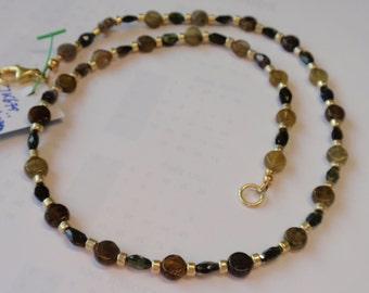 Turmaline Necklace  gold/brown/green/blue (JK679)