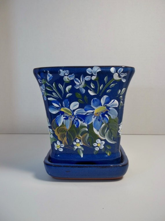Hand Painted Flower Pot New Original Design Rosemaling Folk