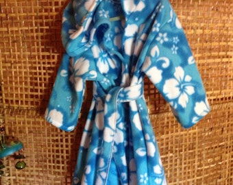 Hooded Toddler robe size 2T or 4T in blue hibiscus fleece, CIJ, product ID# G-047