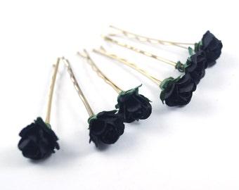 Bridal Hair Accessories,  Black Rose,  Black flower Hair Bobby Pin, Brass Bobby pin- sets 6