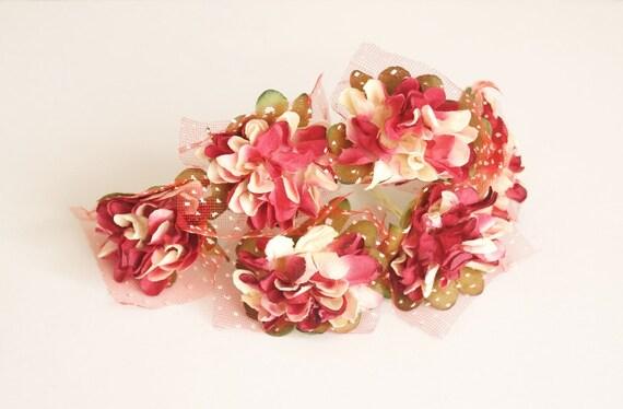 Bridal Hair Accessories Burgundy Red Flower Hair Bobby Pin