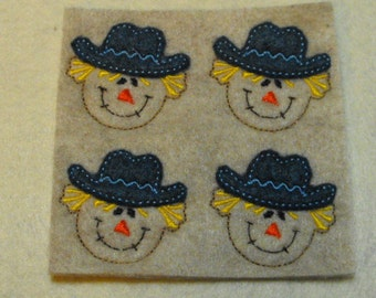 Scarecrow felties, feltie, machine embroidered, felt applique, felt embellishment, hairbow center, hair bow supplies