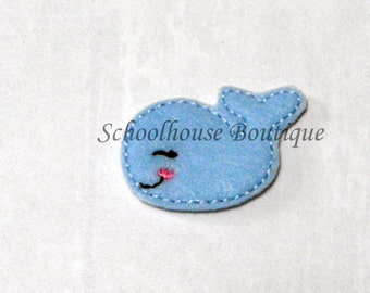 Baby Blue Whale felties, feltie, Machine embroidered, felt applique, felt embellishment, hairbow center