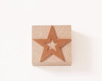 Letterpress Stars Inside Stars wood type - 5 pieces