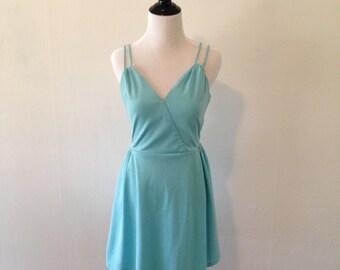 70s Soft Blue Short Dress