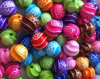 50 pcs12 mm Mixed Colorful Acrylic Beads, mixed round Bead, mixed Acrylic Bead, mixed beads, resin bead,BubbleGum bead, mixed round bead