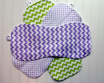 Girl Burp Clothes - Baby Burp Clothes, Girl Burp Clothes,Baby Burp Rags, Lavender and Lime Green Chevron and Dots, trendy burpies
