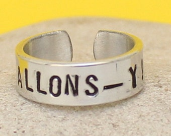 Allons-y - Doctor Who - TARDIS - Adjustable Aluminum Ring - Personalized Silver Ring
