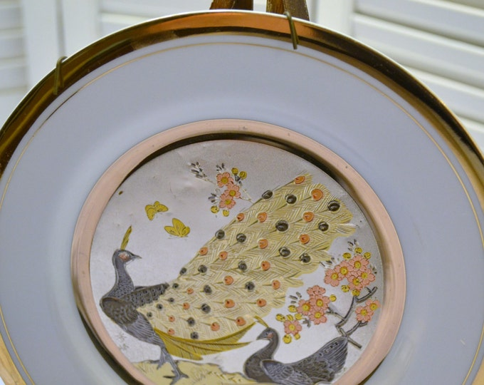Vintage Chokin Art Collector Plate Peacock Flowers Made in Japan PanchosPorch