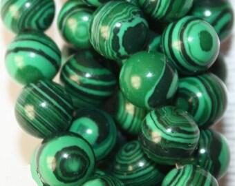 """Malachite Beads - Round 8 mm Gemstone Beads - Full Strand 15"""", 50 beads - Reconstituted"""