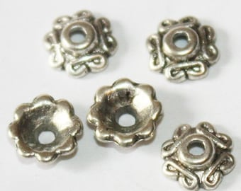 50 pcs Antique Silver Bead Caps 7 mm, Lead, Nickel & Cadmium Free Jewelry Findings, metal findings