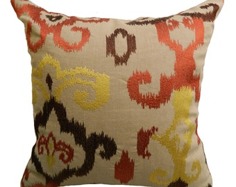 18''x18'' Embroidered Ikat Pillow Cover