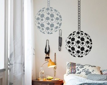 Wall Decal, Modern Wall Decals, Circles of life Chakra Vinyl Wall Decals with Hanging Chain - Globe circular round decoration Wall Decal
