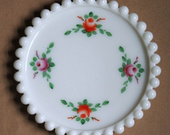 Vintage White Milk Glass Hand-Painted Floral Beaded Plate