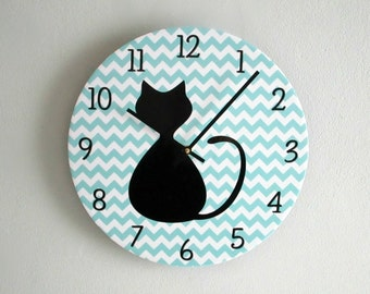 Cat Wall Clock Etsy