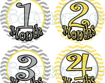 12 precut Month to Month stickers Baby monthly Stickers Baby Shower gift Baby Month stickers Grey yellow neutrala