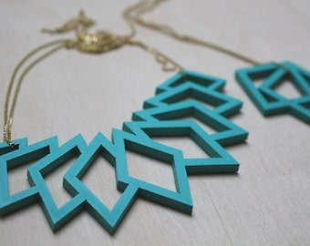 turquoise statement necklace, geometrical pendant, wood pendant, statement necklace, laser cutted jewelry, gold-plated silver chain