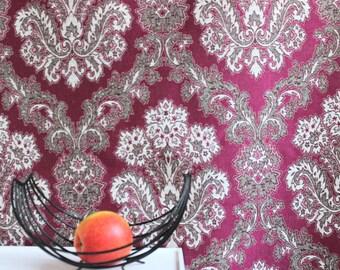 curtain fabric purple,baroque,art deco style, 47.24'' x  204.72'' , vintage unused 60s 70s baroque curtain purple white grey abstract