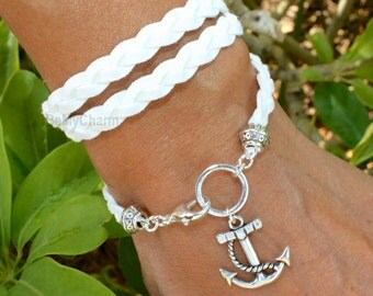 Boho Triple Wrap Bracelet - Silver Anchor Charm - Braided  Faux Suede Bohemian Wrap - Pick COLOR / SIZE - Gift For Her - Under 20,  05